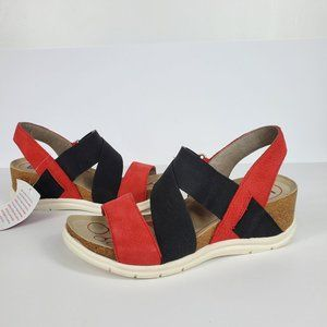 bionica Wedge Red Leather Active Wear Sandal 7.5M